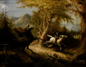 The Headless Horseman Pursuing Ichabod Crane, painted by John Quidor, 1858.