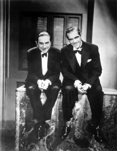Bela Lugosi and Boris Karloff, the twin pillars of the first cycle of the Universal Monster films.