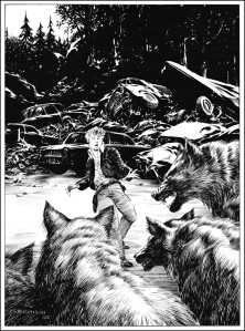 Bernie Wrightson illustrates the scene where the Kid is put to death by Randall Flagg via a pack of wolves.