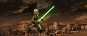 Ahsoka Tano is an interesting new character in the series, seen here in battle in the episode