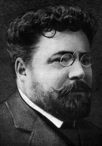 Gaston Leroux, the author of the novel on which the film would be based. This portrait was illustrated in 1907.