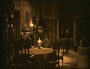 The sets of the West mansion provide an eerie backdrop for the events of the film.