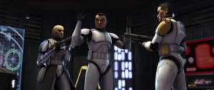 Captain Rex and Commander Cody are the main clone characters of the series. Seen arresting a traitorous clone in