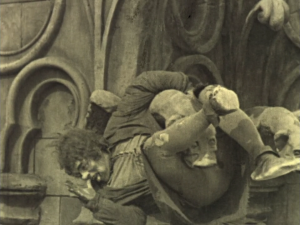 As well as a tragic, humanist performance, Lon Chaney also does lots of his own stunts, making his Quasimodo a truly athletic character as he swings from the gargoyles of Notre Dame.