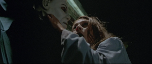 The opening of the film is the strongest element, as Michael Myers hunts Laurie Strode one last time.